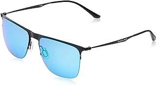 Fastrack Sundowner UV Protected Browline and Clubmaster Unisex Sunglasses - (M145BU3|56|Blue lens)