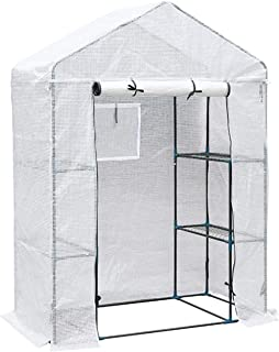 Compact Walk in PE Plastic Greenhouse with Shelves, Roll Up Zip Panel Door, Easy No Tool Assembly,143 * 73 * 195CM