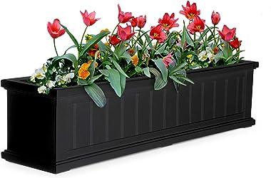 "Cape Cod Rectangular Window Box Size: 48"", Color: Black"