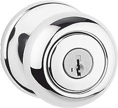 Kwikset Maçaneta de porta de entrada com chave Cove 94002-913 em cromo polido com segurança SmartKey