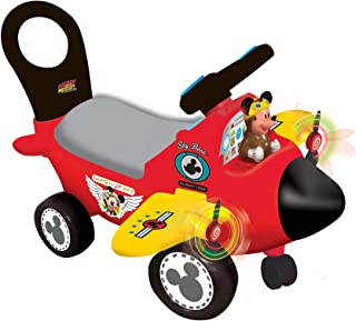 Kiddieland Mickey Mouse Airplane Activity Ride-On Car, Red