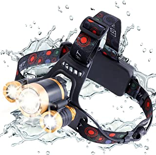 Rechargeable Headlamp Motion Sensor LED Headlight Flashlight, 2000 Lumen Head Lamp 4 Modes Waterproof Zoomable Headlamps with Red Rear Light for Camping Cycling Hiking Hunting Fishing Running Outdoors