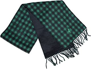 Polo Ralph Lauren Men Big Pony/Plaid Lambs Wool Reversible Winter Scarf - Made in Italy (One size, Black/green)