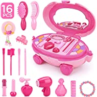 KKONES Pretend Makeup for Girls - 16 Piece Play Makeup Set- Exquisite Cosmetic case with Colorful...