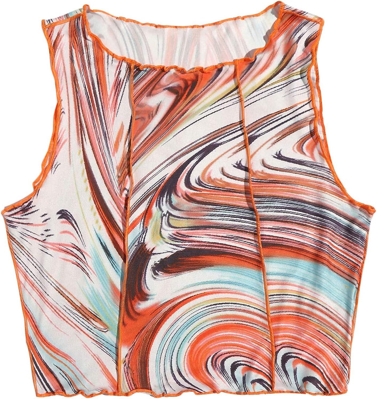 SheIn Women's Sleeveless Round Neck Crop Tank Tops Printed Vest