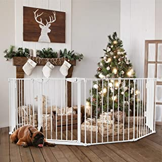 Costzon 150-Inch Wide Baby Safety Gate, 6-Panel Fireplace Fence with Walk-Through Door in Two Directions, 4 Pack of Wall Mounts, Wall-Mount Metal Play Yard for Toddler/Pet/Christmas (6-Panel,White)
