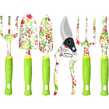Garden Tool Set, 6 PCS Heavy Duty Aluminum Gardening Hand Tools Kit, Floral Print Gardening Tool Set, Gardening Gifts for Women with Pruning Shears Weeder Hand Rake Shovel Transplanter Cultivator