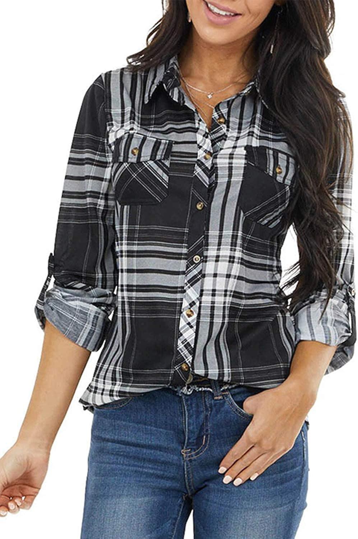 Happy Sailed Women Classic Plaid Boyfriend Down Slee Long High material Button Max 59% OFF