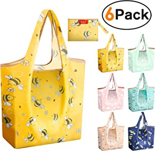 Foldable Grocery Tote Shopping Bags Reusable 50 lbs Nylon Durable Bags Heavy Duty Flat Bottom Light Weight Penguins Rabbits Bees fits with Purse Shrink Proof