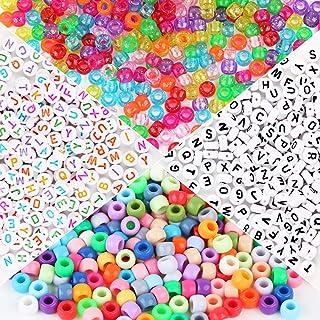 1000pcs Perles Multicolores Rondes Paillettes 600pcs Perles de Lettre en Plastique Acrylique Assortiment de Perles Alphabe...