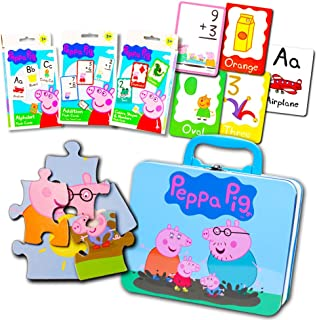 Peppa Pig Lunch Box Set Toddlers Kids -- Deluxe Peppa Pig Lunch Tin with Puzzle and Flash Cards (Peppa Pig School Supplies)