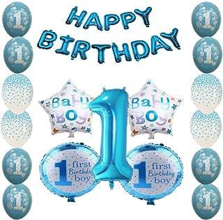 Shopama Globos de decoración para 1 cumpleaños de 1 año azul para niños, decoración de confeti, guirnalda inflable, globos de látex y Mylar, juego de 30 unidades