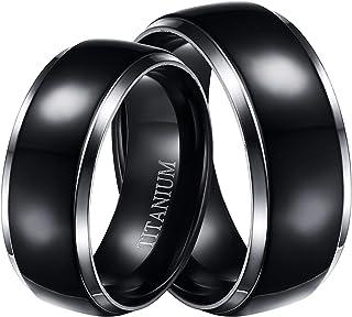 حلقات التيتانيوم مطلية باللون الأسود للرجال والنساء، خواتم الزواج المطابقة، عصابات التيتانيوم