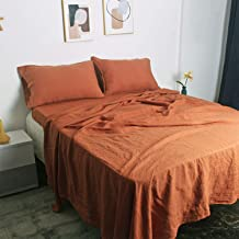 100% French Natural Linen Bedding Victory Symbol Ultra Soft Stone Washed 4 Piecces Sheets Set(Caramel,King)