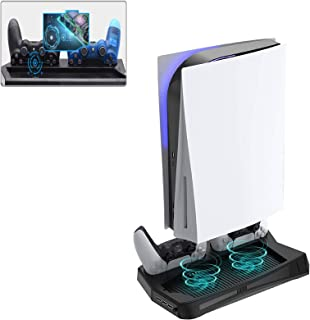 PS5 Playstation 5 Cooling Fan Stand Charging Station Vertical Stand Cooler with Dual Controller Charge Station 3 USB Ports