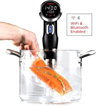 Chefman Immersion Circulator w/Wi-Fi Bluetooth & Digital Interface Touchscreen Display, Cooker Includes Connected App for Guided Cooking, Adjustable Clamp, 1100 Watts, Wifi Sous Vide