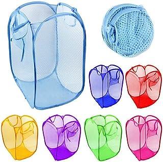Timetided Panier en tissu à linge cylindrique coloré pliant respirant lavable grille filet pliable panier à vêtements avec...