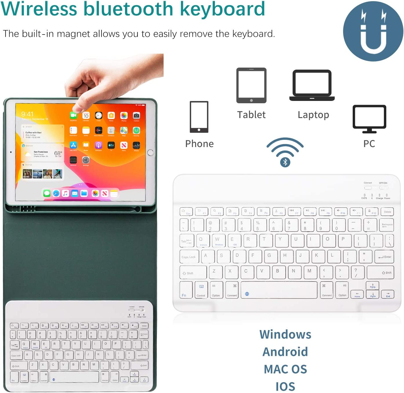 Auto Wake//Sleep Smart Cover with Magnetically Detachable Wireless Bluetooth Keyboard GOOJODOQ Keyboard Case for iPad Air 4 10.9 2020 with Pencil Holder