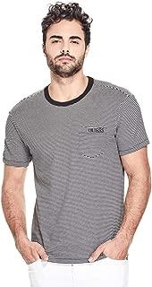 GUESS Factory Men's Dev Striped Logo Front Pocket Tee