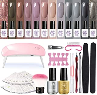 SEXY MIX Gel Nail Polish Starter Kit with UV Light, with Mini 12 Fall Colors Soak Off Gel Nail Polish, Base and Top Coat, Nail Art Manicure Tools Kit