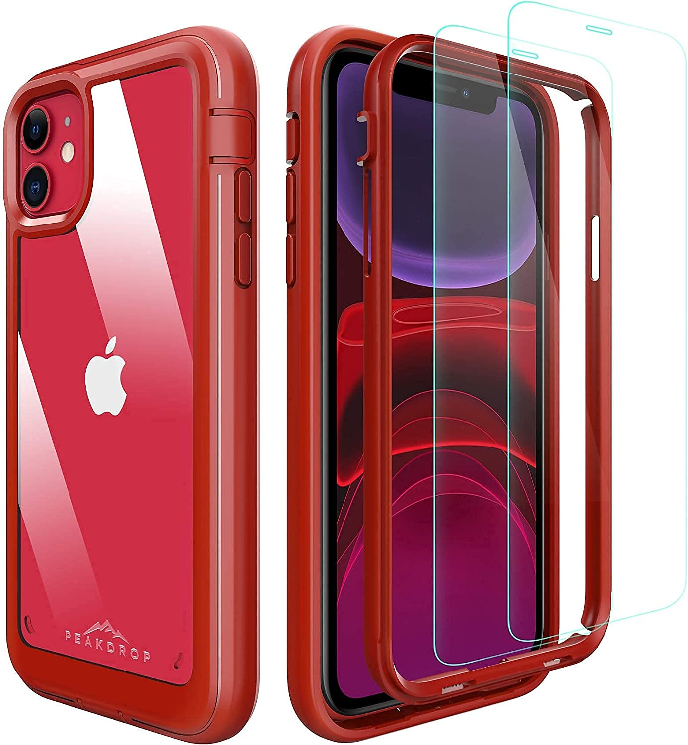 PeakDrop Compatible with iPhone 11 Case, Clear Full Body Heavy Duty Protective Case Full Body Transparent Cover Designed for iPhone 11 (2X Glass Screen Protector Included) (6.1 inch, 2019) - Red