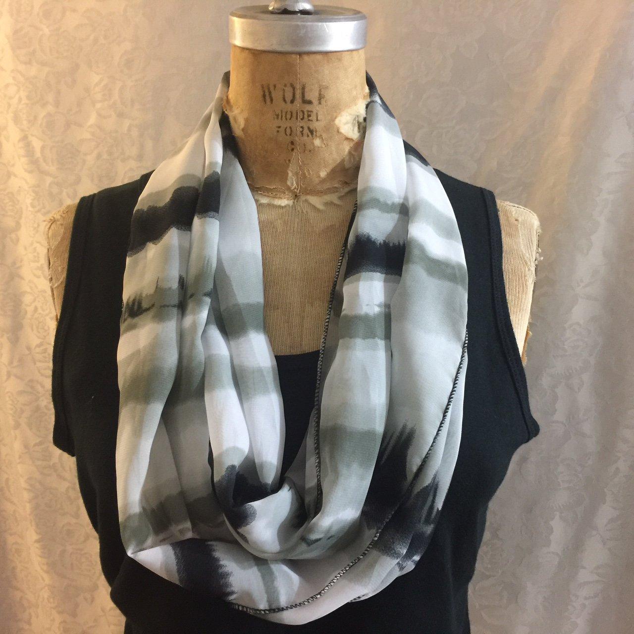 Elegant Infinity Special price Scarf Tie Dye Stripe Gray white and Black i Handmade