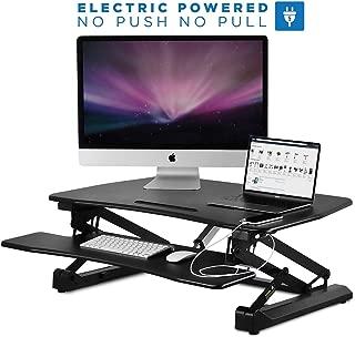 Mount-It! Electric Standing Desk Converter   Motorized Sit Stand Desk With Built In USB Port   Ergonomic Height Adjustable Workstation   Black (MI-7927E)
