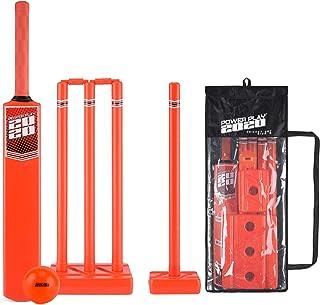 PowerPlay 塑料板球套装,含板球棒,Kwik 板球,4 个棍子、钉子和包