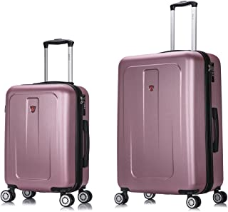 DUKAP Luggage Set - Crypto Collection - Lightweight Hardside 2 Piece Set 20'' and 28'' inch - Rose Gold
