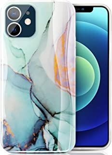 ivencase Case Compatible with iPhone 12 / iPhone 12 Pro 6.1 Inch, Marble Design Ultra Slim Thin Glossy Soft TPU Shockproof Phone Cover, Mint Green