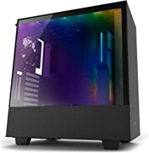 NZXT H500i - Compact ATX Mid-Tower PC Gaming Case - RGB Lighting and Fan Control - CAM-Powered Smart Device - Tempered Glass Panel -Cable Management System – Water-Cooling Ready - Black (Renewed)