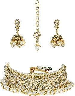 Zaveri Pearls Gold Tone Kundan & Pearls Choker Necklace Set For Women-ZPFK7698