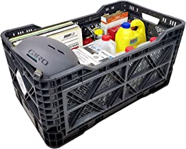BIGANT Heavy Duty Collapsible & Stackable Plastic Milk Crate - Snap Lock Foldable Industrial Garage Storage Bin Container ...
