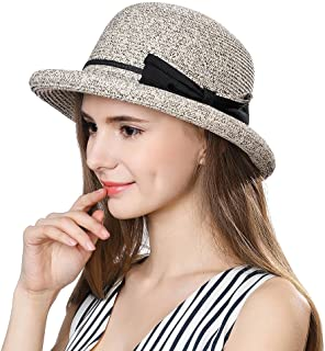 Jeff & Aimy Womens Summer Straw Beach Sun Hat Rolled Brim Fashion Fedora Packable & Adjustable 56-58CM