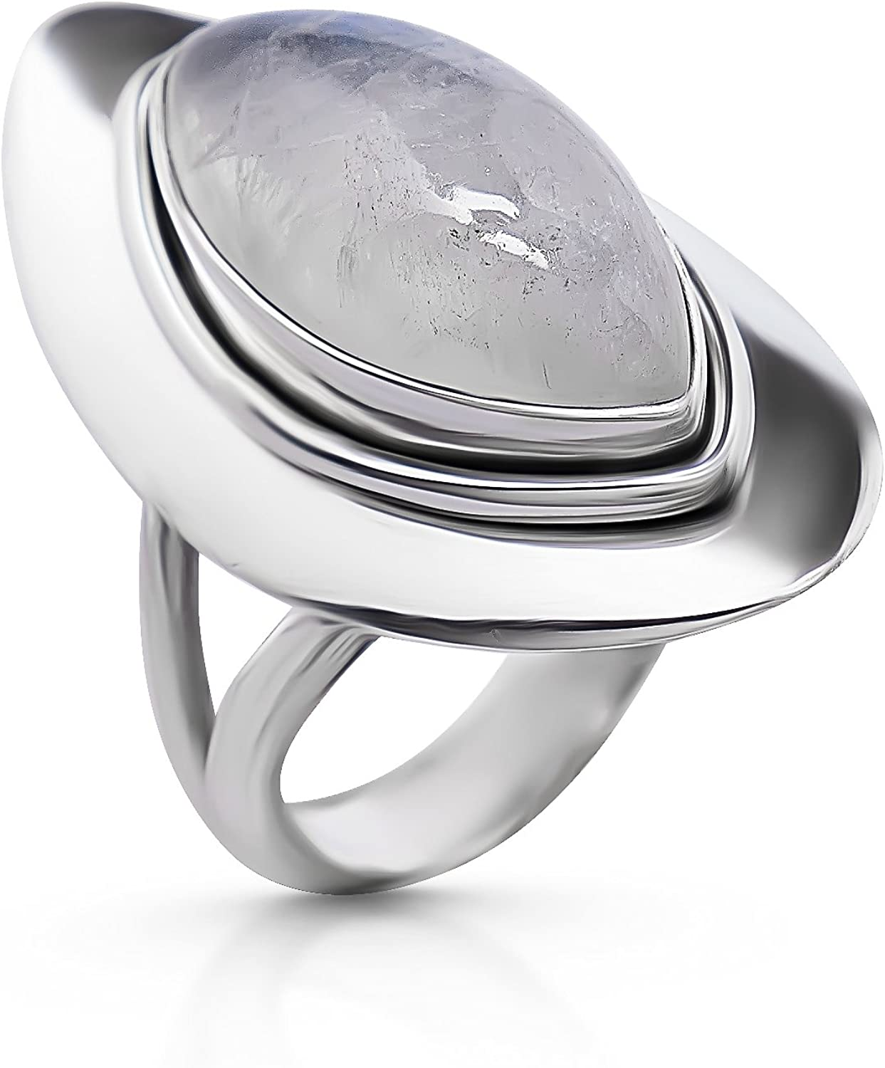 Marquise Moonstone Vintage Ring- mart A surprise price is realized 925 Ethnic Tr - Silver Sterling