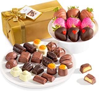 Golden State Fruit Chocolate Covered Berry Love Bites & Belgian Assorted Praline Truffles In Wrapped Gift Box