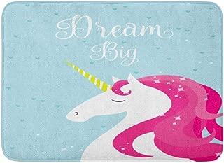 Emvency Doormats Bath Rugs Outdoor/Indoor Door Mat Pink Stars Dream Big Unicorn Horn Baby Beautiful Fairytale Fancy Bathroom Decor Rug Bath Mat 16
