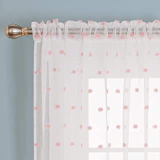 Deconovo Curtain Rods Sheer Curtains Jacquard Bubble Design Rod Pocket for Living Room 52W x 72L Inch Set of 2 Panels Pink