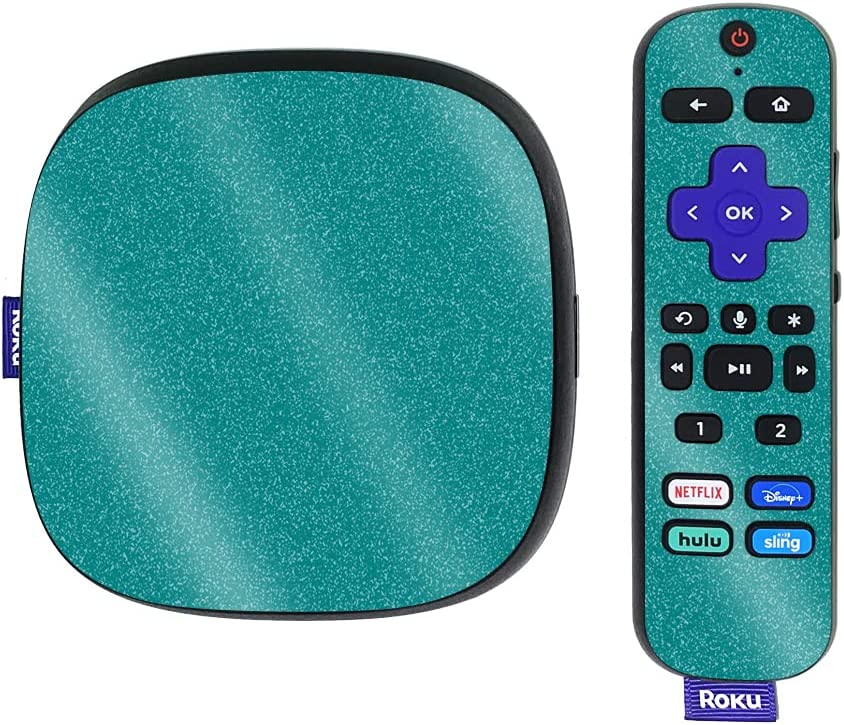 MightySkins Glossy Glitter Skin Compatible with Roku Ultra HDR 4K Streaming Media Player (2020) - Solid Teal | Protective, Durable High-Gloss Glitter Finish | Easy to Apply | Made in The USA