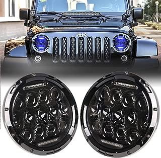 DDUOO Jeep TJ Headlights, 75W 7inch LED Headlights High&Low Beam with Blue DRL for Jeep Wrangler JK TJ LJ CJ Hummer H2
