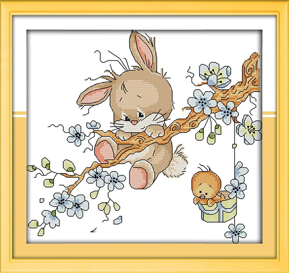 CaptainCrafts New Cross Stitch Kits Patterns Embroidery Kit - Naughty Rabbit (STAMPED)