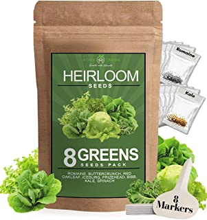 Sponsored Ad - Lettuce and Greens Seed Vault - Non-GMO Seeds for Planting Indoor or Outdoor - Kale, Spinach, Butter, Oak, ...