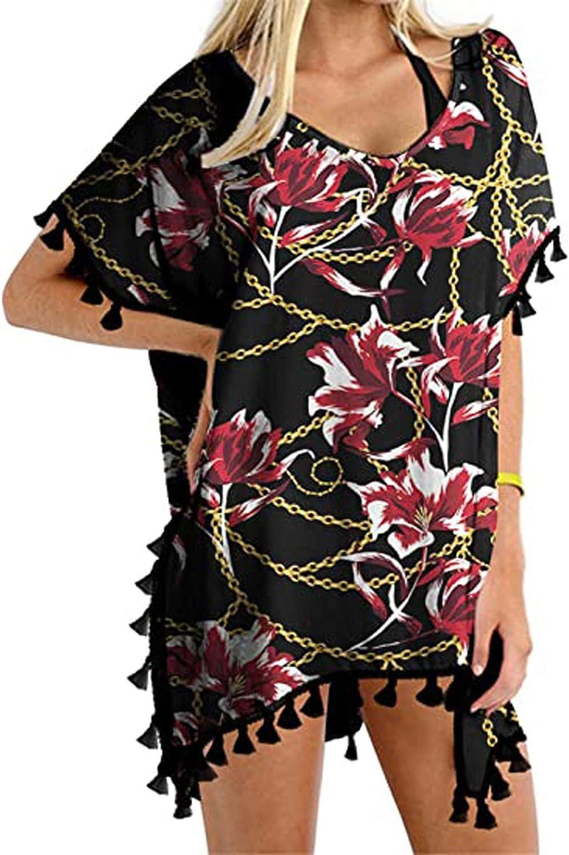 Women's Sunscreen Beach Blouse top Crochet Chiffon Tassel Swimsuit Beach Bikini Cover Ups for Swimwear Bathing Suit