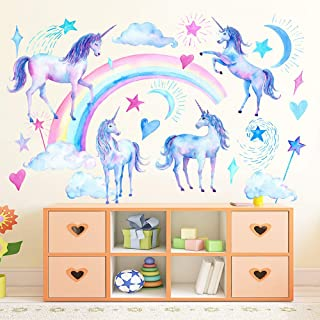 SELIEM Unicorn Wall Decals, Peel and Stick Unicorn Rainbow Vinyl Wall Stickers Removable Decals for Girls Bedroom Kids Room Nursery, Unicorn Wall Art Home Decorations Party Supplies