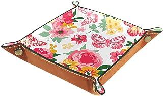 Vockgeng Papillon de Fleurs Boîte de Rangement Panier Organisateur de Bureau Plateau décoratif approprié pour Bureau à Dom...