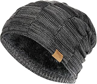 384b88fe48283 Vgogfly Slouchy Beanie for Men Winter Hats for Guys Cool Beanies Mens Lined  Knit Warm Thick
