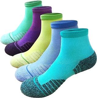 Women's Running & Athletic Hiking Socks Multi Performance Wicking Cushion Crew Quarter Socks 5 pack