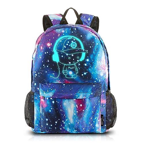 School Backpack Cool Luminous School Bag Unisex Galaxy Laptop Bag with  Pencil Bag for Boys Girls 694b7cbf9d30d