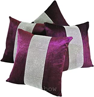 Muyankissu® Set of 4 Purple & Silver Diamanté Sparkle Velvet Chenille 17