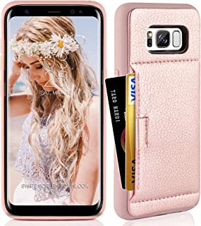 ZVE Wallet Case for Samsung Galaxy S8, 5.8 inch, Slim Leather Wallet Case with Credit Card Holder Slot Pocket Protective Functional Case Cover for Samsung Galaxy S8, 5.8 inch 2017 - Rose Gold